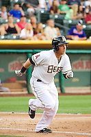 J.B. Shuck (3) of the Salt Lake Bees during the game against the Tacoma Rainiers in Pacific Coast League action at Smith's Ballpark on July 9, 2014 in Salt Lake City, Utah.  (Stephen Smith/Four Seam Images)