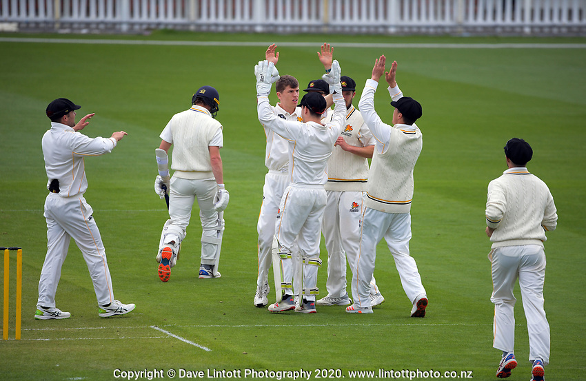 Ben Sears celebrates a wicket during day one of the Plunket Shield match between the Wellington Firebirds and Otago at Basin Reserve in Wellington, New Zealand on Thursday, 5 November 2020. Photo: Dave Lintott / lintottphoto.co.nz