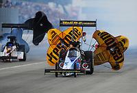 Feb. 11, 2012; Pomona, CA, USA; NHRA top fuel dragster driver Cory McClenathan during qualifying for the Winternationals at Auto Club Raceway at Pomona. Mandatory Credit: Mark J. Rebilas-