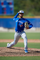Toronto Blue Jays pitcher Brayan Mejia (54) during an Instructional League game against the Philadelphia Phillies on September 27, 2019 at Englebert Complex in Dunedin, Florida.  (Mike Janes/Four Seam Images)