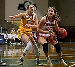 SIOUX FALLS, SD - MARCH 8: Maddie Krull #42 of the South Dakota Coyotes drives to the basket past Kadie Deaton #3 of the North Dakota State Bison during the Summit League Basketball Tournament at the Sanford Pentagon in Sioux Falls, SD. (Photo by Dave Eggen/Inertia)