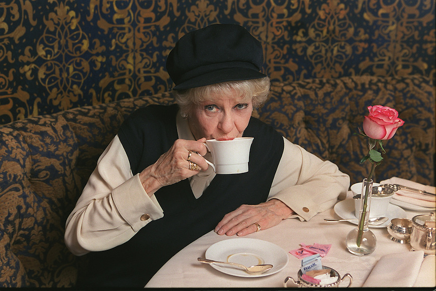 """ELAINE STRITCH at the Carlyle Hotel.  After successful runs of her show, """"Elaine Stritch At Liberty"""" off-Broadway, on Broadway (Tony Award), and in London, she is taking it on the road, with a first stop in LA..35 E. 76 St., NYC.Newsday/ARI MINTZ 3/12/2003"""
