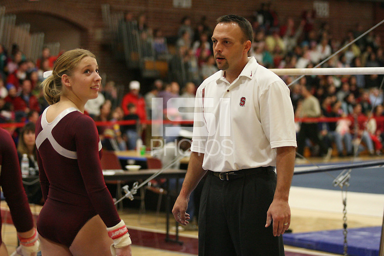 17 February 2006: Nicole Ourada and Chris Swircek during Stanford's win over the University of Arizona at Burnham Pavilion in Stanford, CA.