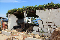 Pictured: A wall has collapsed in Plomari, Lesbos, Greece. Monday 12 June 2017<br /> Re: A strong earthquake has rocked the Greek island of Lesbos, injuring 10 people and damaging dozens of homes at the Brit tourist hotspot.<br /> The magnitude 6.2 quake struck off the coast of western Turkey close to the islands of Samos and Lesbos, which are hugely popular with holidaymakers.
