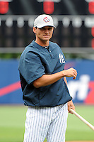 Staten Island Yankees coach Justin Pope (22) during first team workout at Richmond County Bank Ballpark at St. George in Staten Island, NY June 15, 2010.  Photo By Tomasso DeRosa/ Four Seam Images