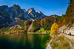 Austria, Upper Austria, Salzkammergut, Gosau: Gosau Lake and Dachstein mountains | Oesterreich, Oberoesterreich, Salzkammergut, Gosau: vorderer Gosausee vorm Dachsteingebirge, Gosaukamm