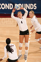 30 November 2007: Bryn Kehoe during Stanford's 3-0 win over Santa Clara University in the first round of the NCAA Division 1 Women's Volleyball Championships in Maples Pavilion in Stanford, CA.