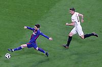 Sevilla FC's Clement Lenglet (r) and FC Barcelona's Leo Messi during Spanish King's Cup Final match. April 21,2018.  *** Local Caption *** © pixathlon<br /> Contact: +49-40-22 63 02 60 , info@pixathlon.de