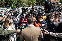 MADRID, SPAIN – MAY 04: The president of VOX, Santiago Abascal, attends the press, at the gates of the Pinar del Rey Public School, where he is going to cast his vote on 4 May in Madrid, Spain. (Photo by Joan Amengual / VIEWpress via Getty Images)
