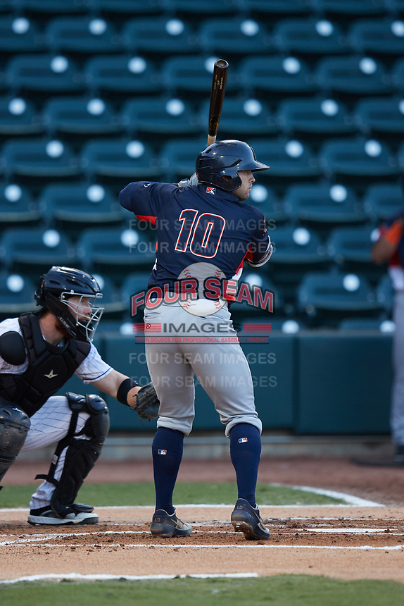 Logan Driscoll (10) of the Bowling Green Hot Rods at bat against the Winston-Salem Dash at Truist Stadium on September 7, 2021 in Winston-Salem, North Carolina. (Brian Westerholt/Four Seam Images)
