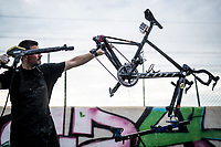 post-race bike cleaning & check at the Team Mitchelton-Scott hotel<br /> <br /> Stage 6: Mora de Rubielos to Ares del Maestrat (199km)<br /> La Vuelta 2019<br /> <br /> ©kramon