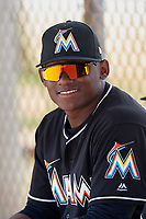 Miami Marlins Albert Guaimaro in the dugout during a minor league Spring Training game against the New York Mets on March 26, 2017 at the Roger Dean Stadium Complex in Jupiter, Florida.  (Mike Janes/Four Seam Images)