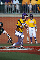 Christian Jayne (12) of the East Carolina Pirates follows through on his swing against the Charlotte 49ers at Hayes Stadium on March 8, 2020 in Charlotte, North Carolina. The Pirates defeated the 49ers 4-1. (Brian Westerholt/Four Seam Images)