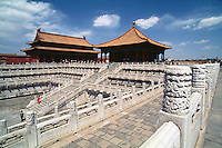 Halle der vollkommenen und Halle der Erhaltung der Harmonie, Kaiserpalast (Gugong, Verbotene Stadt), Peking,  China, Unesco-Weltkulturerbe