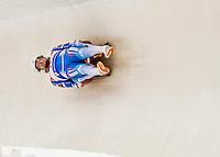4 December 2015: Alexander Denisyev and Vladislav Antonov, sliding for Russia, bank into a turn on their first run of the Doubles Competition during the Viessmann Luge World Cup Series at the Olympic Sports Track in Lake Placid, New York, USA. Mandatory Credit: Ed Wolfstein Photo *** RAW (NEF) Image File Available ***
