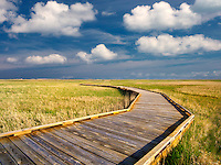 Pathway and clouds with grassland in Badlands National Park, South Dakota.