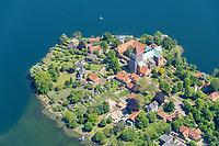 Blick auf die Nordspitze der Altstadtinsel von Ratzeburg im Bundesland Schleswig-Holstein. A