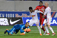 Harrison, NJ - Thursday March 01, 2018: Luis Robles, Michael Murillo, Carlo Costly, Aurélien Collin. The New York Red Bulls defeated C.D. Olimpia 2-0 (3-1 on aggregate) during a 2018 CONCACAF Champions League Round of 16 match at Red Bull Arena.