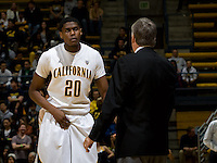 Kahlil Johnson of California talks with California head coach Mike Montgomery during the game against CSUB at Haas Pavilion in Berkeley, California on November 11th, 2012.  California defeated CSUB, 78-65.