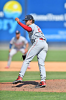 Greenville Drive pitcher Brendan Cellucci (22) delivers a pitch during a game against the Asheville Tourists on May 23, 2021 at McCormick Field in Asheville, NC. (Tony Farlow/Four Seam Images)