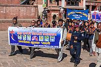 Bhaktapur, Nepal.  Anti-Smoking March Passing through Taumadhi Tole Square.