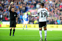 Rhian Brewster of Swansea City is shown a yellow card during the Sky Bet Championship match between Cardiff City and Swansea City at the Cardiff City Stadium in Cardiff, Wales, UK. Sunday 12 January 2020