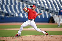 GCL Nationals relief pitcher Tim Collins (96) delivers a pitch during the first game of a doubleheader against the GCL Mets on July 22, 2017 at The Ballpark of the Palm Beaches in Palm Beach, Florida.  GCL Mets defeated the GCL Nationals 1-0 in a seven inning game that originally started on July 17th.  (Mike Janes/Four Seam Images)