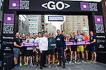 Runners compete at the Bloomberg Square Mile Relay at the Seaport District on 21 April 2016, in New York, USA. Photo by Juan Manuel Serrano / Power Sport Images