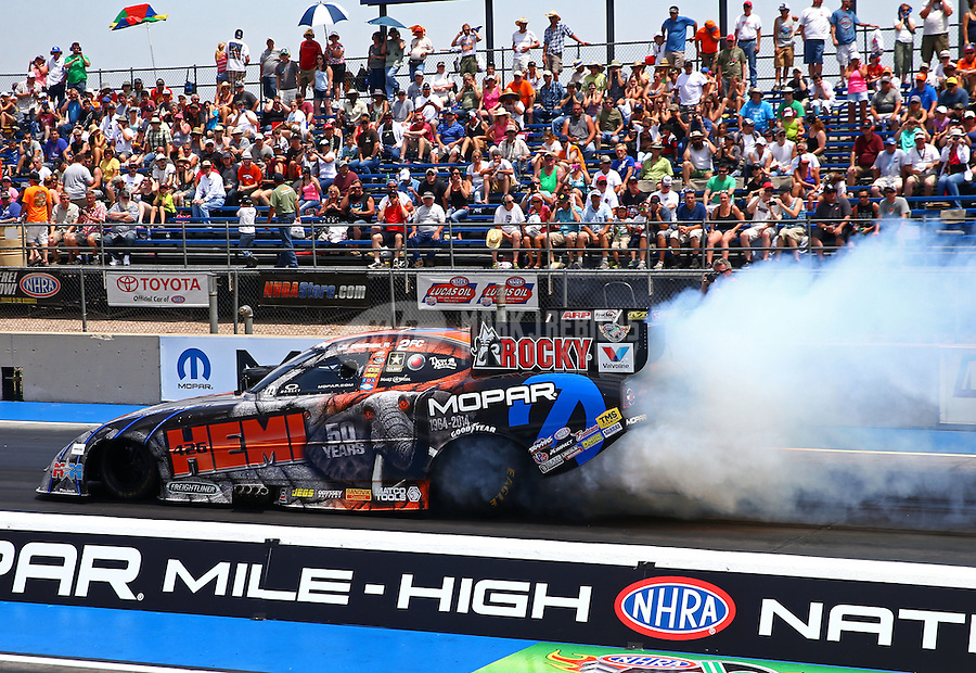 Jul. 20, 2014; Morrison, CO, USA; NHRA funny car driver Matt Hagan during the Mile High Nationals at Bandimere Speedway. Mandatory Credit: Mark J. Rebilas-