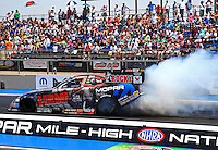 Jul. 20, 2014; Morrison, CO, USA; NHRA funny car driver Matt Hagan during the Mile High Nationals at Bandimere Speedway. Mandatory Credit: Mark J. Rebilas-