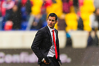 New York Red Bulls head coach Mike Petke. The New York Red Bulls and D. C. United played to a 0-0 tie during a Major League Soccer (MLS) match at Red Bull Arena in Harrison, NJ, on March 16, 2013.