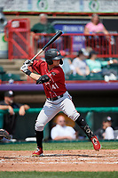 Altoona Curve Jared Oliva (41) at bat during an Eastern League game against the Erie SeaWolves and on June 4, 2019 at UPMC Park in Erie, Pennsylvania.  Altoona defeated Erie 3-0.  (Mike Janes/Four Seam Images)