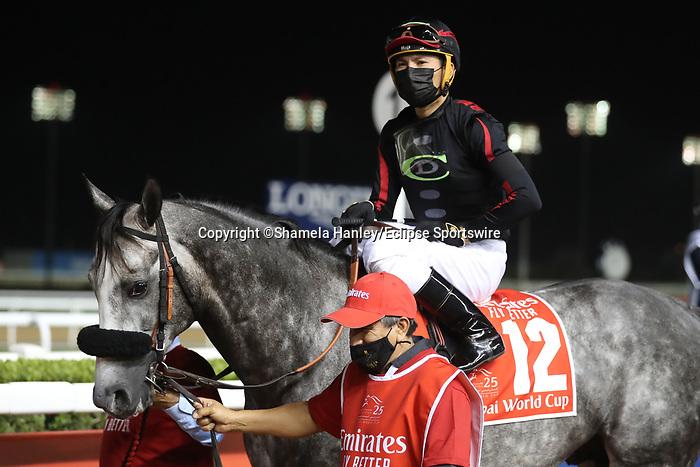March 27 2021: SLEEPY EYES TODD #12, in the post parade for the Dubai World Cup at Meydan Racecourse, Dubai, UAE. Shamela Hanley/Eclipse Sportswire/CSM