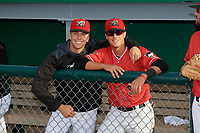 Batavia Muckdogs Kobie Taylor (left) and Andrew Turner (9) before a NY-Penn League game against the Auburn Doubledays on June 14, 2019 at Dwyer Stadium in Batavia, New York.  Batavia defeated 2-0.  (Mike Janes/Four Seam Images)