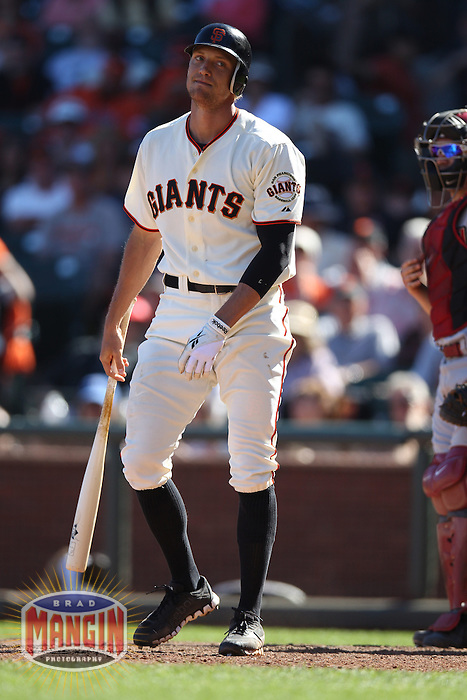 SAN FRANCISCO, CA - SEPTEMBER 3:  Hunter Pence #8 of the San Francisco Giants reacts after striking out against the Arizona Diamondbacks during the game at AT&T Park on Monday, September 3, 2012 in San Francisco, California. Photo by Brad Mangin