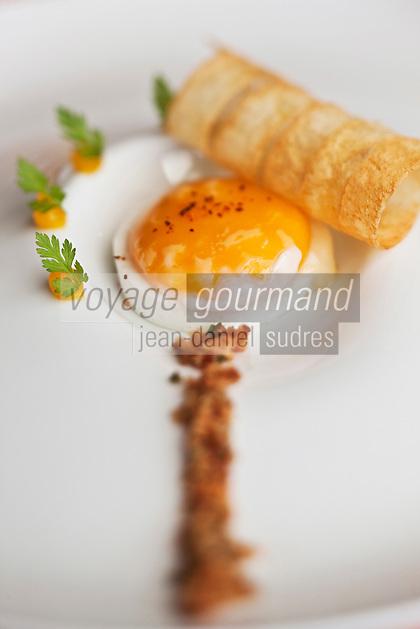 Europe/France/Aquitaine/64/Pyrénées-Atlantiques/Pays Basque/Saint-Jean-Pied-de-Port: Hôtel-Restaurant: Les Pyrénées- Jaune d'Oeuf à la crème de lard recette de Philippe et Firmin Arrambide