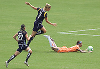 Sky Blue FC forward Natasha Kai battles is tripped by LA Sol's Allison Falk just outside the box. The Sky Blue FC defeated the LA Sol 1-0 to win the WPS Final Championship match at Home Depot Center stadium in Carson, California on Saturday, August 22, 2009...