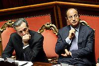 VITTORIO GRILLI E MARIO CIACCIA .Roma 22/12/2011 Senato. Voto di Fiducia sulla Manovra Economica.Votation at Senate about austerity plan. .Photo Samantha Zucchi Insidefoto
