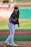 Salt Lake Bees starting pitcher Dillon Peters (20) looks to his catcher for the sign during the game against the Tacoma Rainiers at Smith's Ballpark on May 13, 2021 in Salt Lake City, Utah. The Rainiers defeated the Bees 15-5. (Stephen Smith/Four Seam Images)
