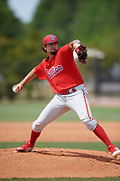 Philadelphia Phillies pitcher Connor Seabold (16) during a Minor League Spring Training game against the Toronto Blue Jays on March 30, 2018 at Carpenter Complex in Clearwater, Florida.  (Mike Janes/Four Seam Images)