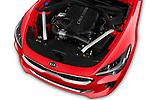 Car stock 2018 KIA Stinger GT-Line 5 Door Hatchback engine high angle detail view
