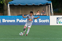 HARTFORD, CT - JULY 10: Matty Acosta #63 of New York Red Bulls II controls the ball during a game between New York Red Bulls II and Hartford Athletics at Dillon Stadium on July 10, 2021 in Hartford, Connecticut.