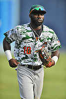Augusta GreenJackets left fielder Jacob Heyward (10) jogs off the field between innings of the game against the Asheville Tourists at McCormick Field on July 15, 2017 in Asheville, North Carolina. The Tourists defeated the GreenJackets 2-1. (Tony Farlow/Four Seam Images)
