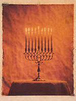 Menorah with Burning Candles to Celebrate the Jewish Winter Festival of Hanukkah - Polaroid Transfer Photograph<br /> <br /> AVAILABLE FOR COMMERCIAL OR EDITORIAL LICENSING THRU MY STOCK AGENT GETTY IMAGES. Please go to www.gettyimages.com and search for image # 479794867.