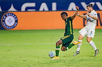 CARSON, CA - OCTOBER 07: Jeremy Ebobisse #17 of the Portland Timbers takes a shot during a game between Portland Timbers and Los Angeles Galaxy at Dignity Heath Sports Park on October 07, 2020 in Carson, California.
