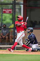 Philadelphia Phillies Felix Reyes (25) bats during an Extended Spring Training game against the New York Yankees on June 22, 2021 at the Carpenter Complex in Clearwater, Florida. (Mike Janes/Four Seam Images)
