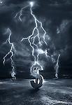 Illustrative image of lightening striking on dollar signs representing recession