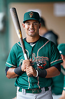 Infielder Nick Gonzales (2) of the Greensboro Grasshoppers poses for a portrait before a game against the Greenville Drive on Friday, July 23, 2021, at Fluor Field at the West End in Greenville, South Carolina. (Tom Priddy/Four Seam Images)