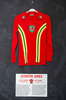 Leighton James' 1976/79 Wales home shirt is displayed at The Art of the Wales Shirt Exhibition at St Fagans National Museum of History in Cardiff, Wales, UK. Monday 11 November 2019
