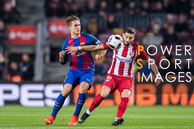 Yannick Ferreira Carrasco (r) of Atletico de Madrid battles for the ball with Denis Suarez Fernandez of FC Barcelona during their Copa del Rey 2016-17 Semi-final match between FC Barcelona and Atletico de Madrid at the Camp Nou on 07 February 2017 in Barcelona, Spain. Photo by Diego Gonzalez Souto / Power Sport Images